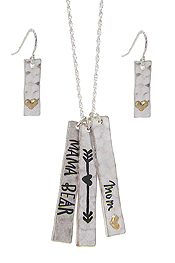 MAMA BEAR THEME TRIPLE BAR PENDANT NECKLACE SET