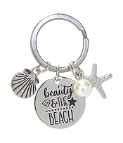 INSPIRATION MESSAGE STAMP  PENDANT KEY CHAIN - BEAUTY AND THE BEACH