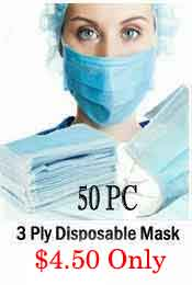 3 PLY DISPOSABLE PROTECTIVE FACE MASK (50 MASKS SET)