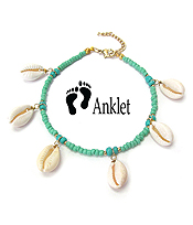 MULTI COWRY SHELL AND SEED BEAD ANKLET