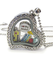 ORIGAMI STYLE FLOATING CHARM HEART LOCKET PENDANT NECKLACE - TEACHER KIDS SCHOOL THEME - LOCKET OPENS AND CHARMS INCLUDED
