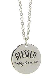 INSPIRATION MESSAGE STAMP  PENDANT NECKLACE - BLESSED WIFEY AND MAMA