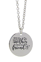 INSPIRATION MESSAGE STAMP  PENDANT NECKLACE - ALWAYS MY MOTHER FOREVER MY FRIEND