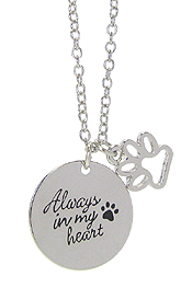 INSPIRATION MESSAGE STAMP  PENDANT NECKLACE - ALWAYS IN MY HEART