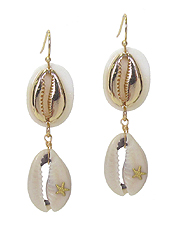 DOUBLE COWRY SHELL DROP EARRING