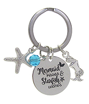 INSPIRATION MESSAGE STAMP  PENDANT KEY CHAIN - MERMAID KISSES STARFISH WISHES