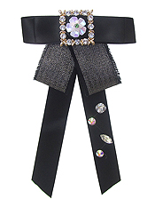BOW TIE WITH JEWELED BROOCH - FLOWER