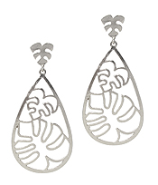 METAL CONTOUR LINE TEARDROP EARRING  - MONSTERA