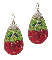 HANDMADE SEEDBEAD ART TEARDROP EARRING - CHERRY