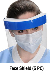 FACE SHIELD CLEAR VISION VISOR WITH COMFORT SPONGE BAND - PROTECT EYE AND FACE (5 PC SET)