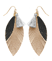 TASSEL AND LEATHER FEATHER EARRING