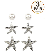 CRYSTAL STARFISH AND PEARL 3 PAIR EARRING SET