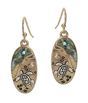 SEALIFE THEME ABALONE OVAL EARRING - TURTLE