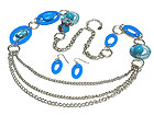 TRIPLE STRANDS AND ACRYL AND GLASS MARBLE BEAD  LONG NECKLACE AND EARRING SET