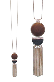 WOOD DISC AND CHAIN TASSEL DROP LONG NECKLACE