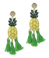 CRYSTAL PINEAPPLE AND KNOT TASSEL DROP EARRING