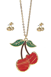 STITCH CHERRY PENDANT NECKLACE SET