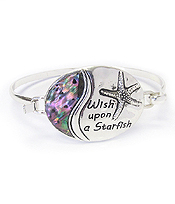 ABALONE SEALIFE THEME MESSAGE BANGLE BRACELET - WISH UPON A STARFISH