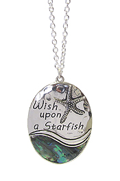 ABALONE SEALIFE PENDANT LONG NECKLACE - WISH UPON A STARFISH