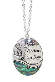 ABALONE SEALIFE PENDANT LONG NECKLACE - HOPE ANCHORS THE SOUL
