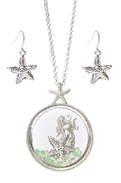 FIXED LOCKET FLOATING CHARM NECKLACE SET - MERMAID SEALIFE