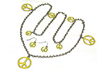 MULTI ENAMEL PEACE CHARM LONG NECKLACE AND EARRING SET