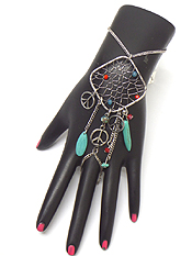 BOHO STYLE DREAM CATCHER PEACE SIGN DANGLE SLAVE RING AND BRACELET SET