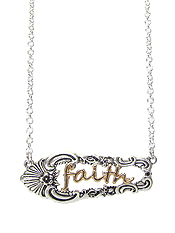 UTENSIL SPOON TEXTURED PENDANT NECKLACE - FAITH