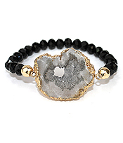 GOLD EDGE DRUZY STRETCH BRACELET