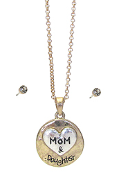 MOM AND DAUGHTER PENDANT NECKLACE SET