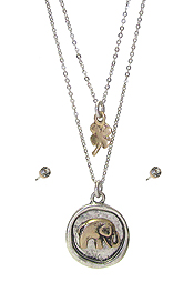 LUCKY THEME DOUBLE LAYER NECKLACE SET - ELEPHANT
