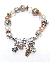 DRAGONFLY AND LUCK CHARM MULTI BEADS STRETCH BRACELET