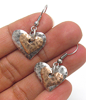 VINTAGE METAL DOUBLE HEART EARRINGS