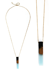 RESIN AND WOOD BAR PENDANT LONG NECKLACE