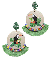 TOUCAN WOOD DISC AND FAN TASSEL EARRING