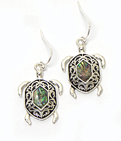 SEA TURTLE WITH ABALONE STONE FISH HOOK EARRINGS