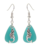SEALIFE THEME SEA GLASS AND PEARL EARRING - MERMAID