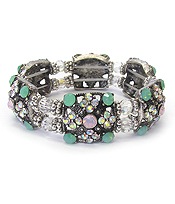 VINTAGE LUXURY CLASS CRYSTAL AND FACET GLASS STRETCH BRACELET