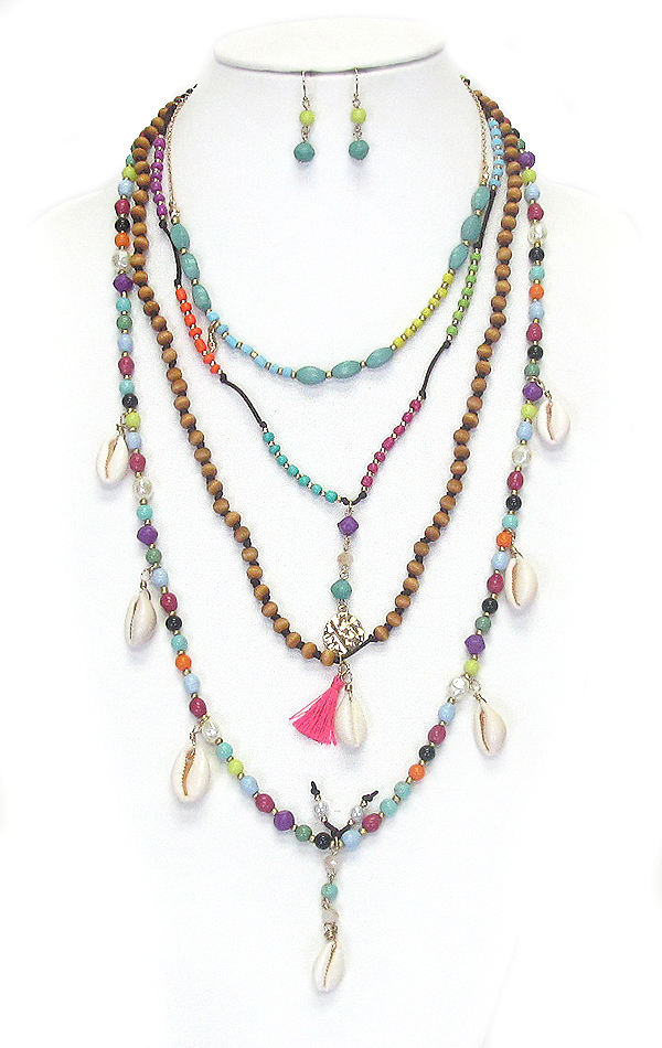 SEED BEAD AND MULTI SHELL DANGLE LONG NECKLACE SET