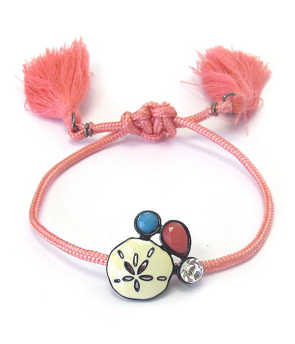 EPOXY SAND DOLLAR THREAD PULL TIE BRACELET