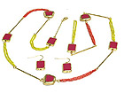 METAL EPOXY AND STICKS AND DUAL STRAND LINK NECKLACE AND EARRING SET