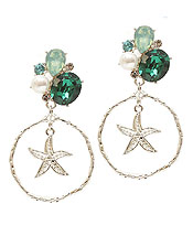 MULTI STONE MIX STARFISH EARRING