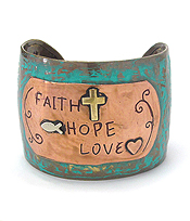 RELIGIOUS INSPIRATION METAL BANGLE BRACELET - FAITH HOPE LOVE