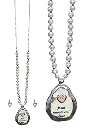 MOTHER DAY THEME LONG NECKLACE SET - MOM UNCONDITIONAL LOVE
