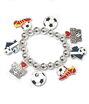 SOCCER THEME CHARM STRETCH BRACELET
