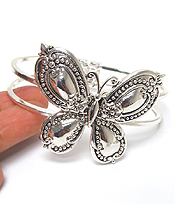 UTENSIL SPOON TEXTURED BANGLE BRACELET - BUTTERFLY