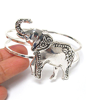UTENSIL SPOON TEXTURED BANGLE BRACELET - ELEPHANT