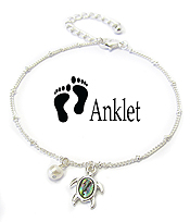SEALIFE THEME ABALONE CHARM ANKELT - TURTLE