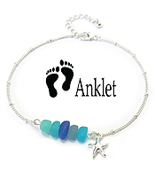 SEALIFE THEME SEAGLASS CHARM ANKLET - STARFISH