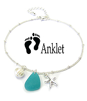 SEALIFE THEME SEA GLASS CHARM ANKLET - STARFISH